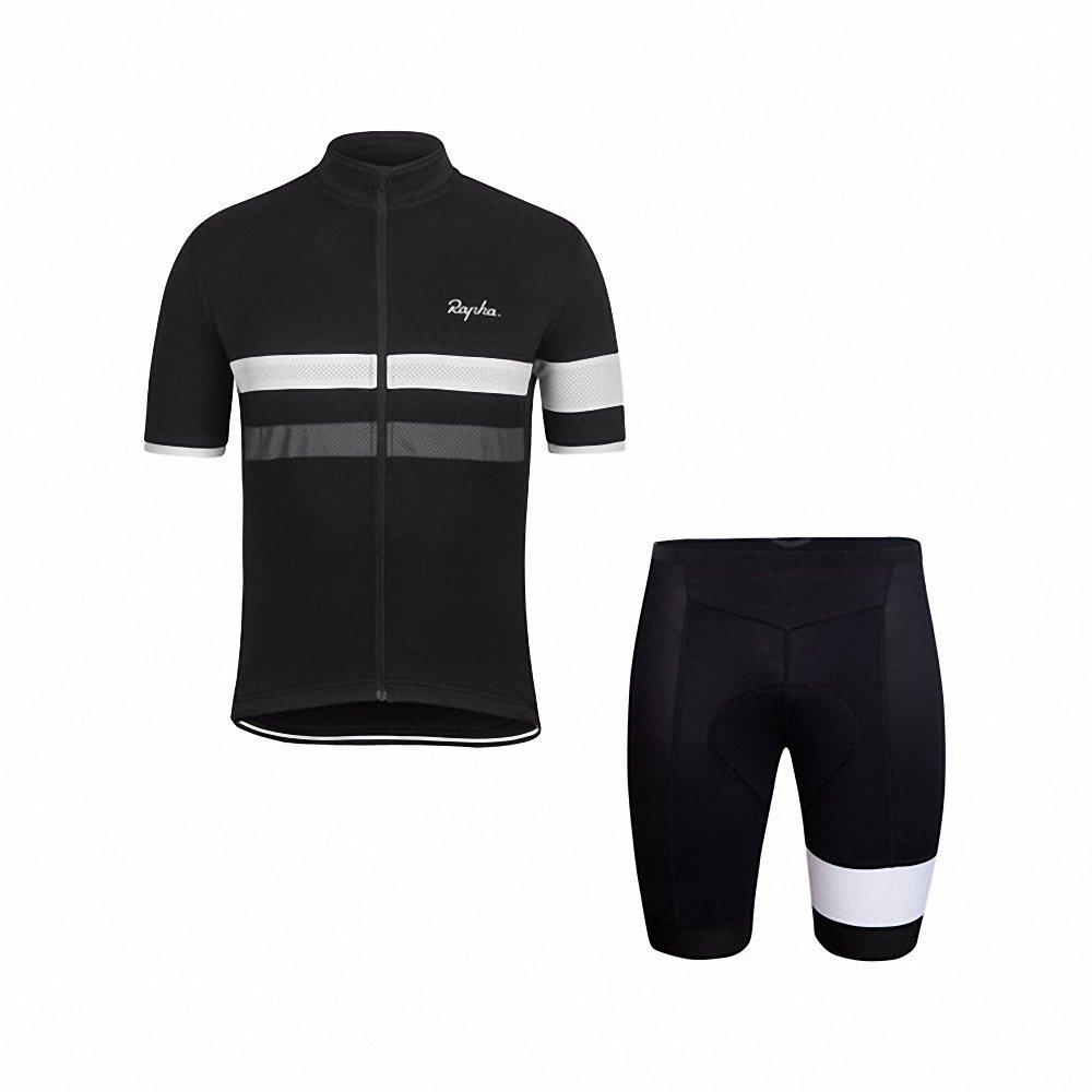 メンズサイクリングジャージーストライプ半袖速乾通気性Bikingシャツwithパッド入りショーツサイクリング服アパレルSuit B079ZVXKJV Large|black&gray2 black&gray2 Large