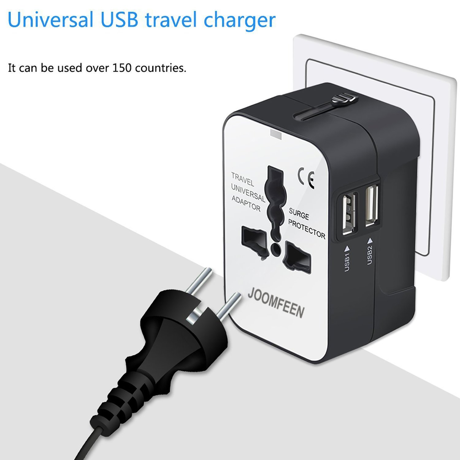 Black Travel Adapter JOOMFEEN Worldwide All in One Universal Power Converters Wall AC Power Plug Adapter Power Plug Wall Charger with Dual USB Charging Ports for USA EU UK AUS Cell Phone Laptop