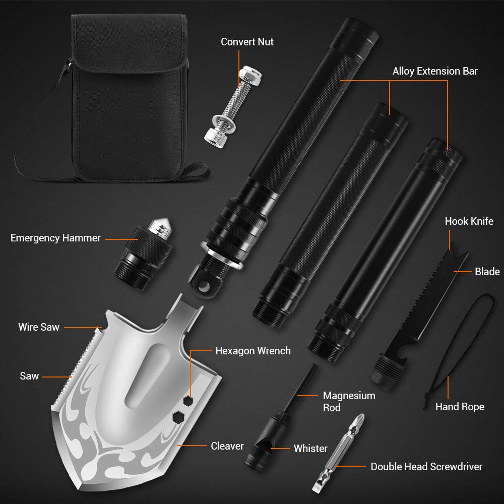 DONGKER Folding Shovel Military Survival Shovel Multitool Portable Tactical Entrenching Tool Compact Backpacking for Hunting, Camping, Hiking, Fishing, Gardening Car Emergency, 33''&19'' (Black-L) by DONGKER (Image #2)