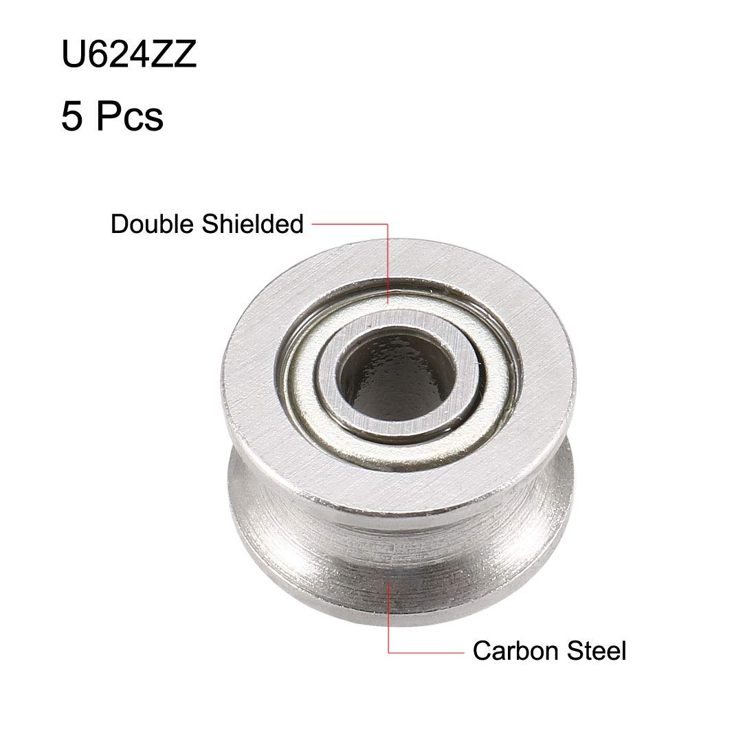 sourcing map U624ZZ Deep Groove Guide Pulley Rail Ball Bearings 4mmx13mmx7mm Double Metal Shielded Carbon Steel Bearings 5pcs
