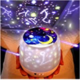 KISTRA Dinosaur Star Night Lights for Kids with LED Timer, 360°Rotating Projector Night Lighting Lamps with Starry Moon Sky for Indoor Bedrooms, Best Gift for Baby