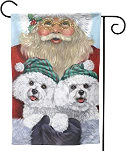Only Pineapple Christmas Dog Bichon Frise Santa Claus Seasonal Family Welcome Double Sided Garden Flag Outdoor Funny Decorative Flags for Garden Yard Lawn Decor Party Gift Many Sizes