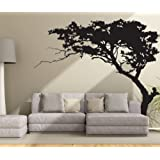 "CaseFan Huge Tree Wall Decal for Living Room TV Background Removable Decoration Art Sticker 86.6x70.9"",Black"