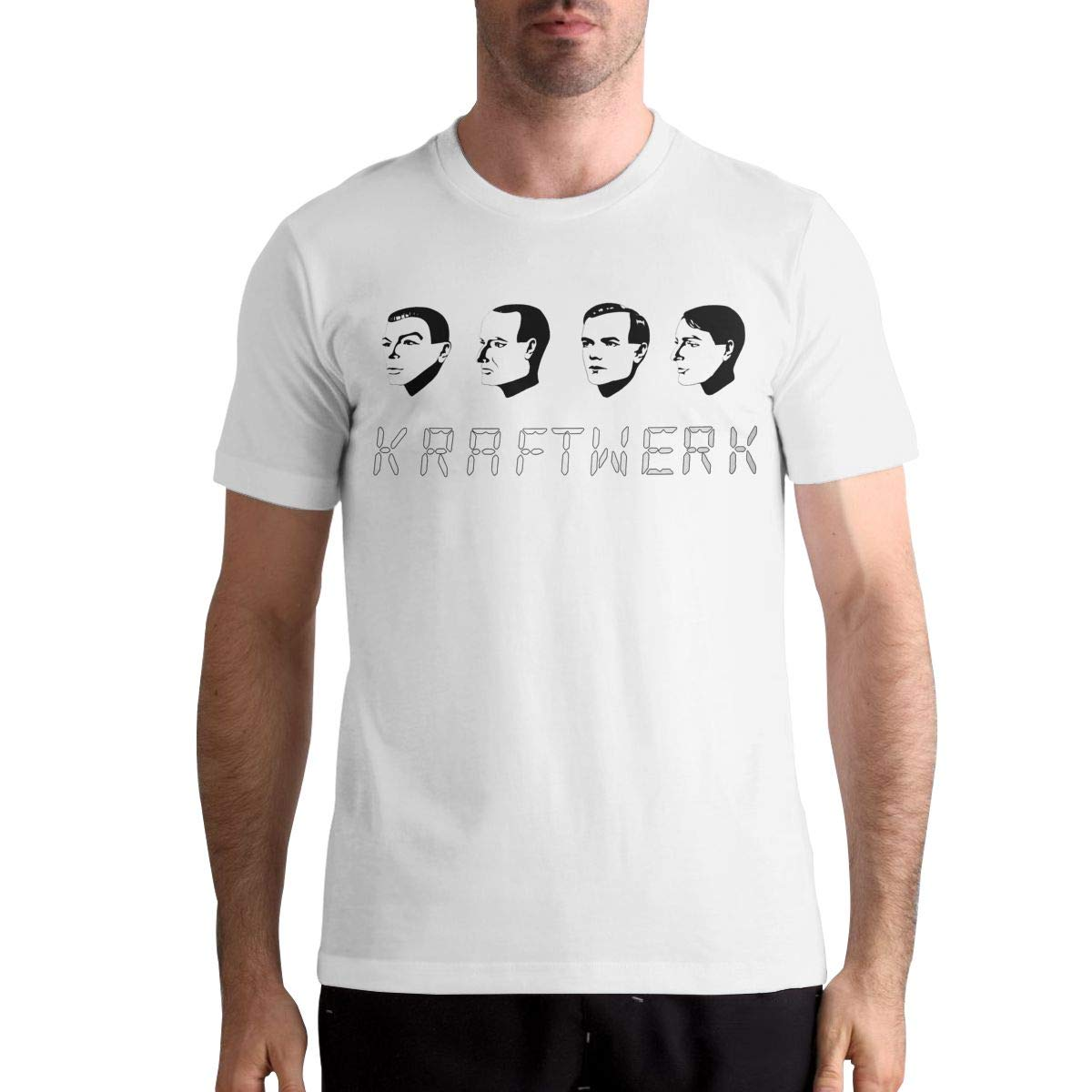 Janeth M Shannon Kraftwerk Logo Men Popular Short Sleeve Music Band Shirts Black