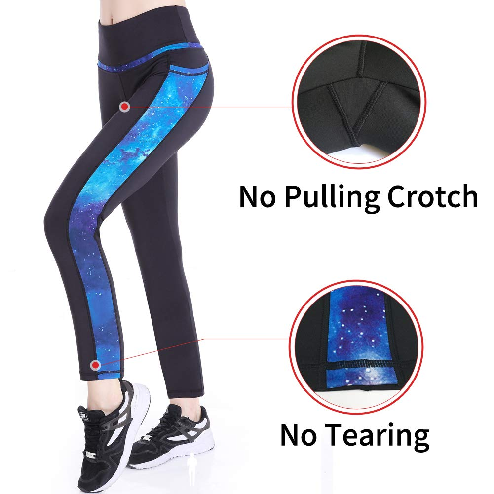Picotee Women's Yoga Pants Workout Capri Leggings Running Long Tights w Side Pocket(Small, Long Pants-Blue Starry)