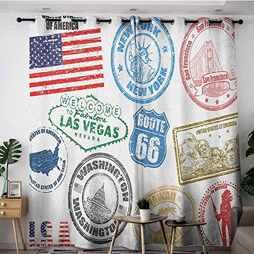 AGONIU Waterproof Window Curtains,United States Grunge Stamps of America Las Vegas New York San Francisco Hawaii Illustration,Great for Living Rooms & Bedrooms,W84x72L Multicolor (Time Difference From New York To Las Vegas)