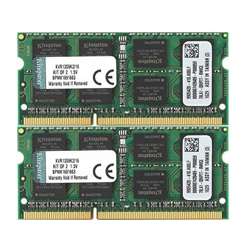 ValueRAM 16GB Kit (2x8GB) 1333MHz DDR3 PC3-10600 Non-ECC CL9 SODIMM Notebook Memory KVR13S9K2/16 by Kingston Technology