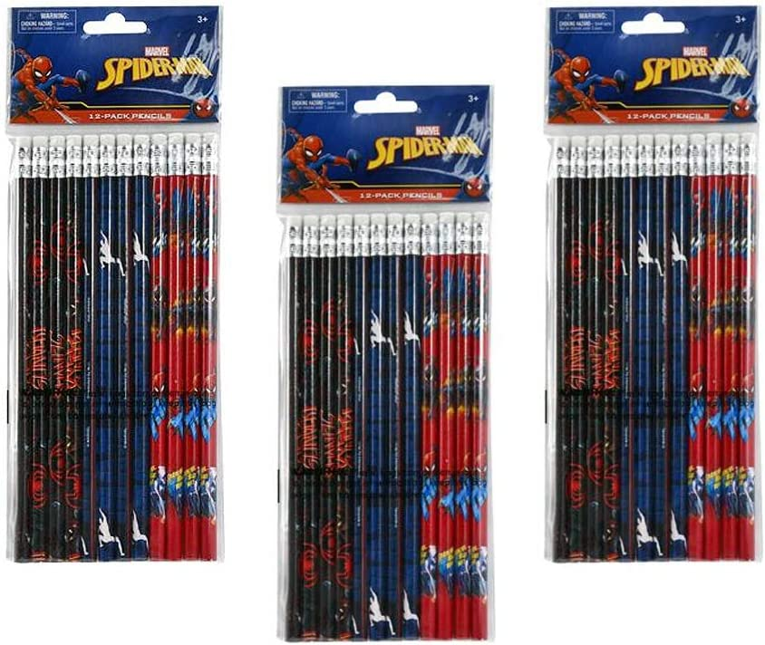 Disney Marvel Spider-Man Wooden Pencils 36 Pcs Party Favors