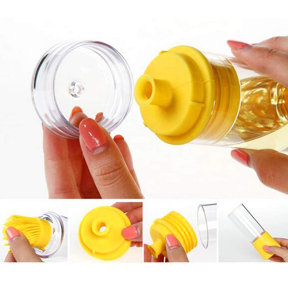 Novelty & Special Use High Temperature Silicone Brush Oil Brush Double Head Design Barbecue Bottle Precision Oil Control Brush Bottle