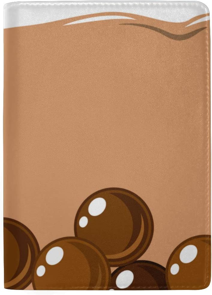 Cute Boba Green Tea Drink Blocking Print Passport Holder Cover Case Travel Luggage Passport Wallet Card Holder Made With Leather For Men Women Kids Family