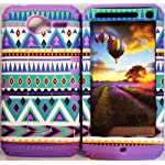 Cellphone Trendz Hybrid High Impact Bumper Case Blue Green Aztec Tribal / Light Purple Silicone for Motorola Electrify M XT901