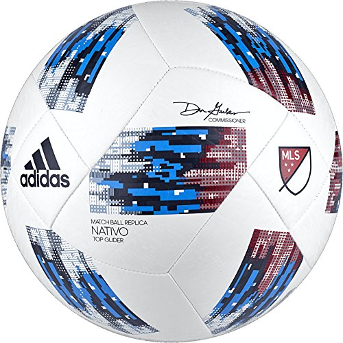 adidas 2018 MLS Top Glider Soccer Ball, White/Blue, Size 5 (Best Minecraft Texture Packs 2019)