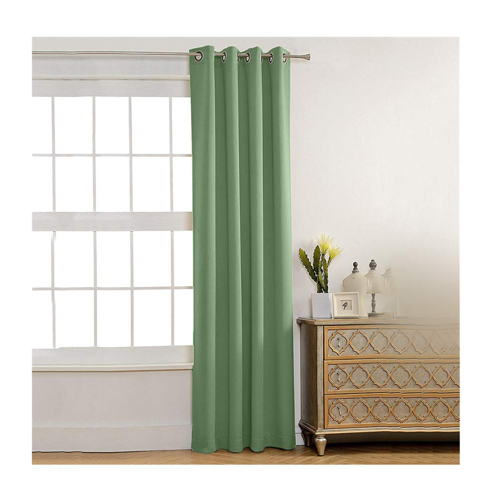 Insulated Foam Lined Heavy Thick Curtains,2PCS Blackout Curtain, Modern Smooth Fabric Solid Color Window Door Curtain for Dining Room,Living Room,Bedroom (Green)