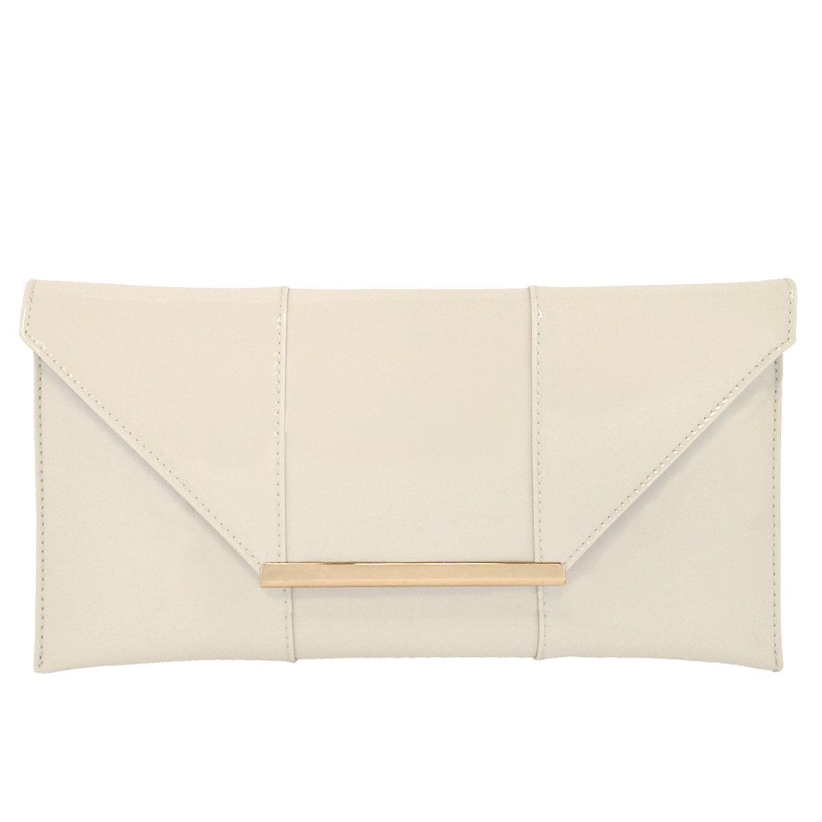 Faux Patent Leather Envelope Candy Clutch, Ivory