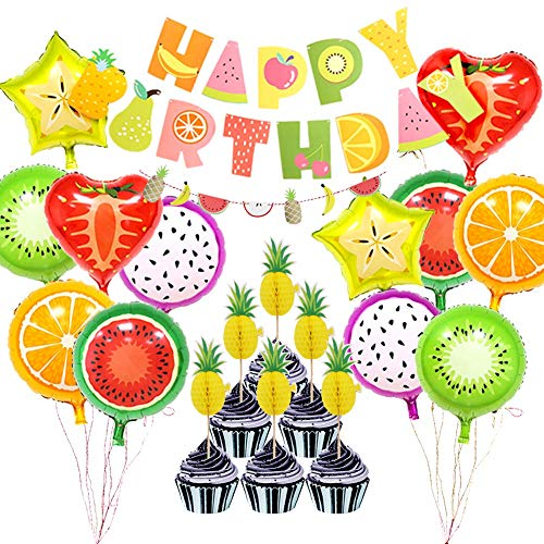 Cake Birthday Fruit - Fruit Themed Birthday Party Decorations Supplies,Fruits HAPPY BIRTHDAY Banner Garland Aluminum Foil Fruit Balloons Pineapple Cupcake Toppers for Baby Shower Kids Summer Birthday Party Bedroom Decor