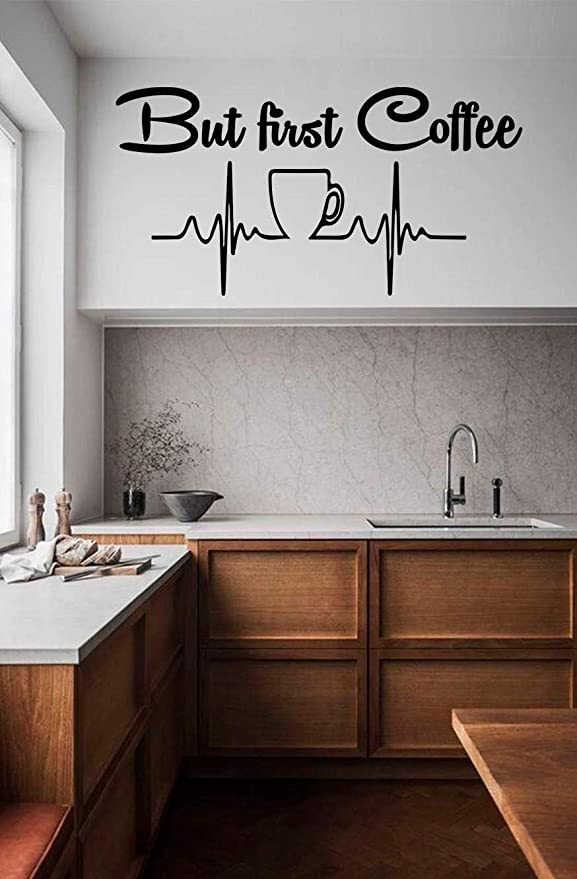 Amazon Com But First Coffee Wall Decal Welcome Sticker Vinyl Kitchen Decals Cup Decor Home