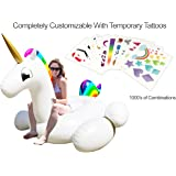 Party With Pride Giant Inflatable Unicorn with Cup Holders, Legs and Rainbow Colors / Customizable with Included Tattoos