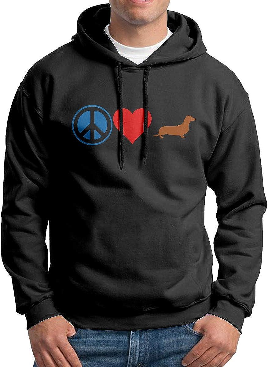 Men Pullover Hoodies Peace Love Dachshund Dog Long Sleeve Fleece Hooded Sweatshirt Sweater Blouses Tops