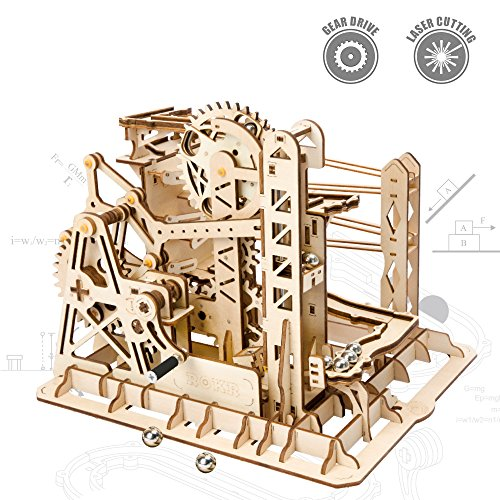 ROKR 3D Assembly Wooden Puzzle Brain Teaser Game Mechanical Gears Set Model Kit Marble Run Set Unique Craft Kits Christmas/New Year/Birthday/Valentine's Gift for Adults & Kids Age 14+(Lift Coaster) ()