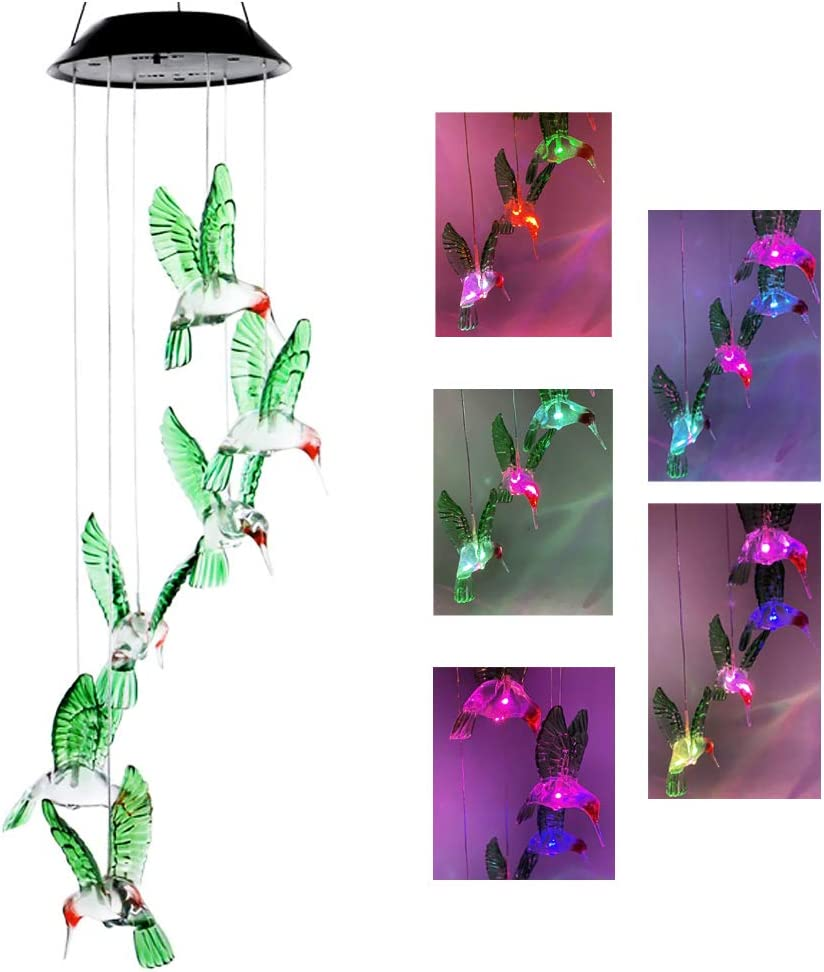BeHiller Hummingbird Solar Lights Changing Color Bird Garden Lights Solar Hanging Six LED Hummingbird Lights Mobile Wind Chimes Outdoor hummingbird lights for Garden Gifts Decoration (Six Hummingbird)