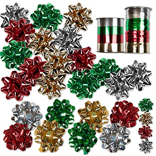 30 Christmas Gift Bows Self Adhesive  8 Rolls of Christmas Curling Ribbons by Gift Boutique