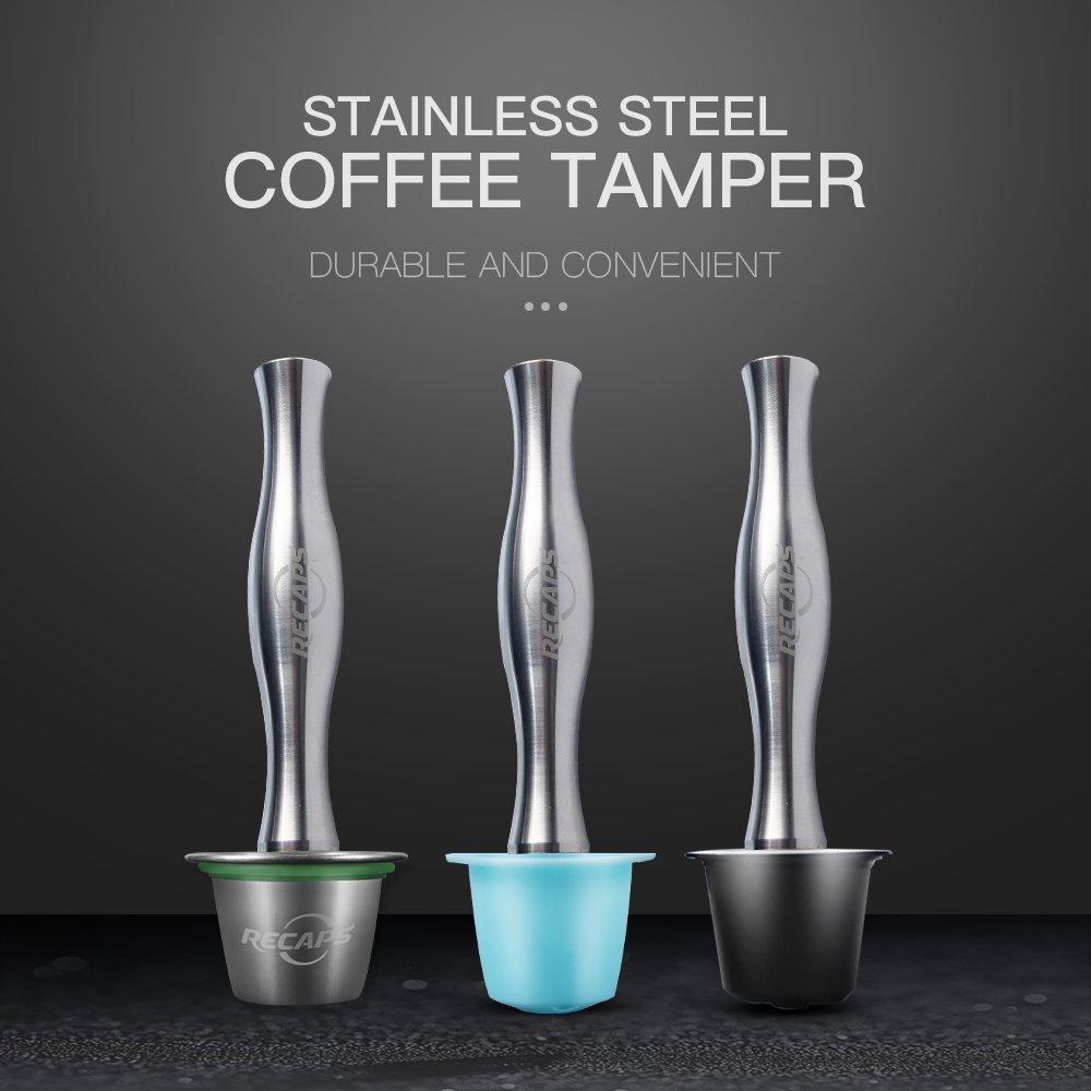 RECAPS Herramienta de llenado de sabotaje de café de Acero Inoxidable máquina de Nespresso Cápsula de reutilización Recargable Que presiona café de Rutina: ...