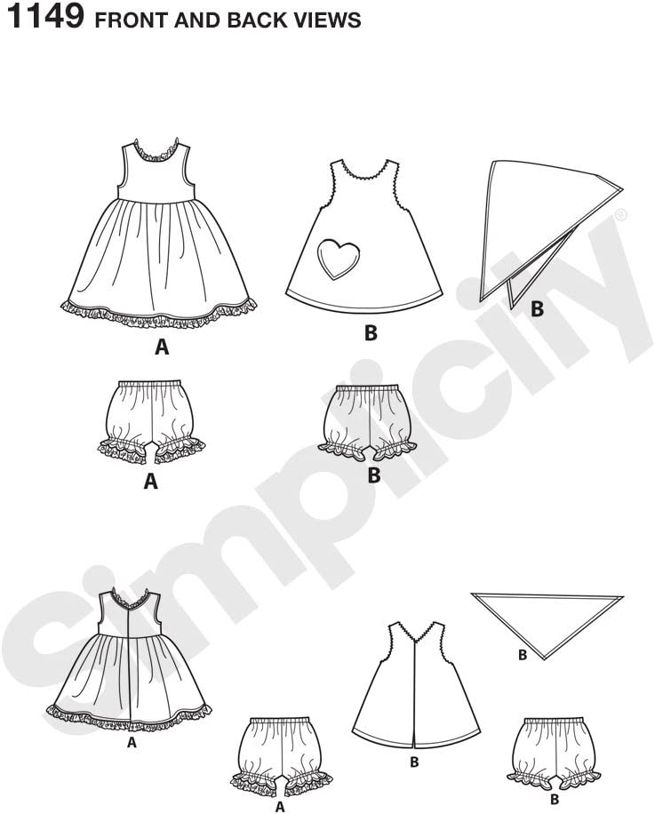 Simplicity Patterns 1149 Its So Easy 18 Doll Clothes ONE Size