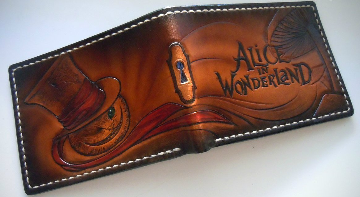 Men's 3D Genuine Leather Wallet, Hand-Carved, Hand-Painted, Leather Carving, Custom wallet, Personalized wallet, Alice in Wonderland, Cheshire Cat