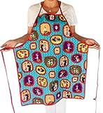Dia de Los Muertos Apron- ''Family Portraits'' in Turquoise for Women