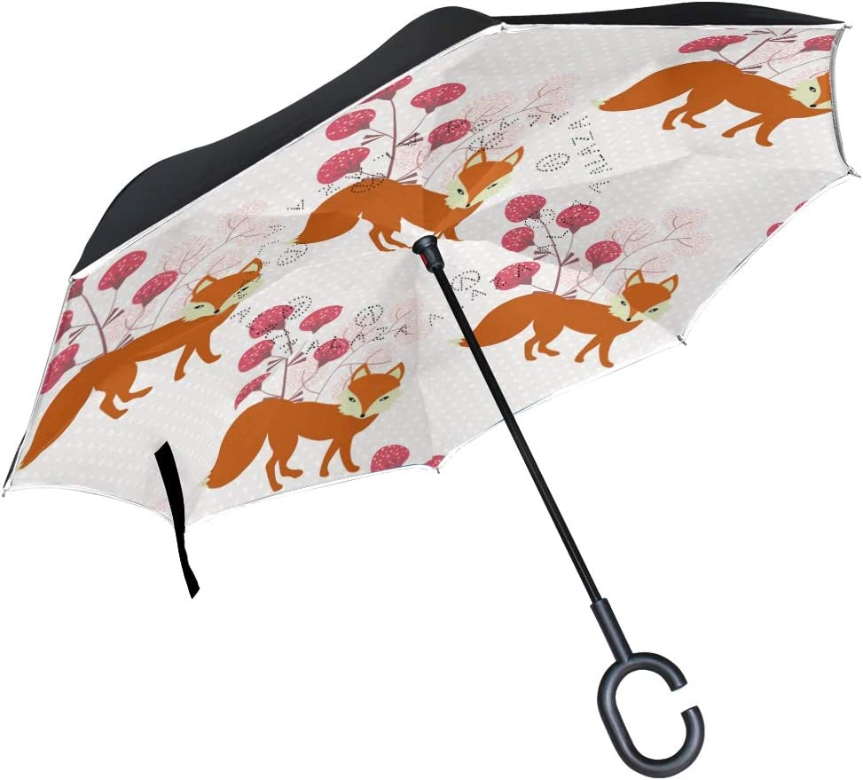 ATONO Cute Fox And Plants Double Layer Inverted Reverse Folding Stick Umbrellas Windproof Anti-UV C-Shaped Handle for Car Rain Outdoor