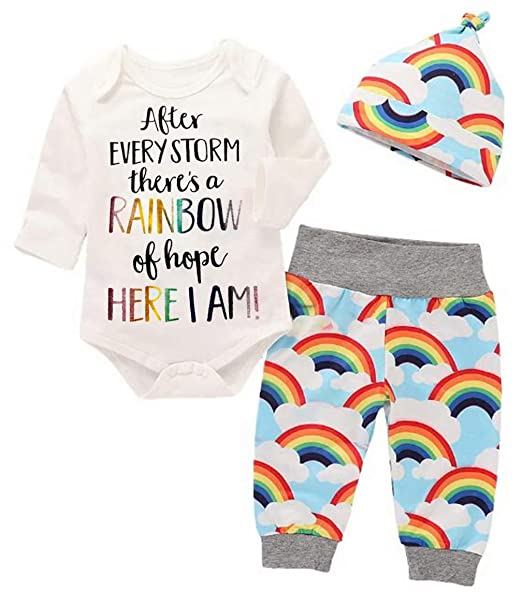 27d7252c511c Amazon.com: 3Pcs Newborn Girls Boys Long Sleeve Letter Print Romper Tops +  Cloud Rainbow Pants+Hat Outfits: Clothing