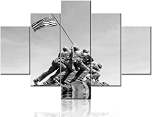 Black and White Painting Canvas Wall Art Iwo Jima memorial in Washington Picture Raising the Flag on Iwo Jima Artwork Large 5 Panel Modern House Decor Living Room Framed Ready to Hang(60Wx40H inches)
