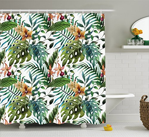 Leaf Shower Curtain by Ambesonne, Vintage Retro 60s Seem Banana Palm Tree Leaves Flowers Hibiscus, Fabric Bathroom Decor Set with Hooks, 84 Inches Extra Long, Light Caramel Burgundy and Green (Lights Tree Christmas Burgundy)