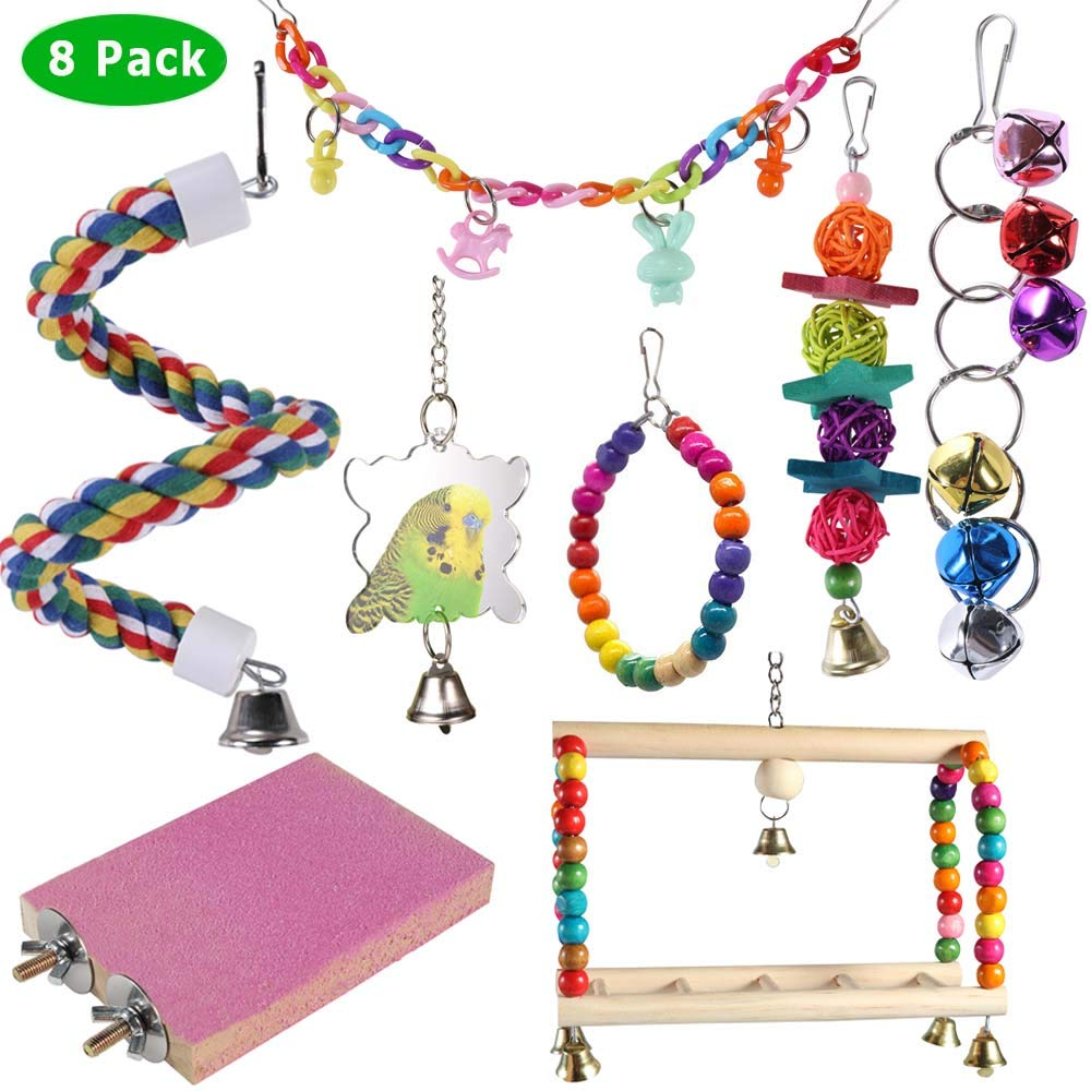 ACEONE Bird Toys Parrot Swing Toy with Colorful Wooden Beads Bells and Pet Bird Cage Hammock Hanging Chew Toys for Small Parakeets Cockatiels, Conures, Macaws, Lovebirds, Finches 8PCS by ACEONE