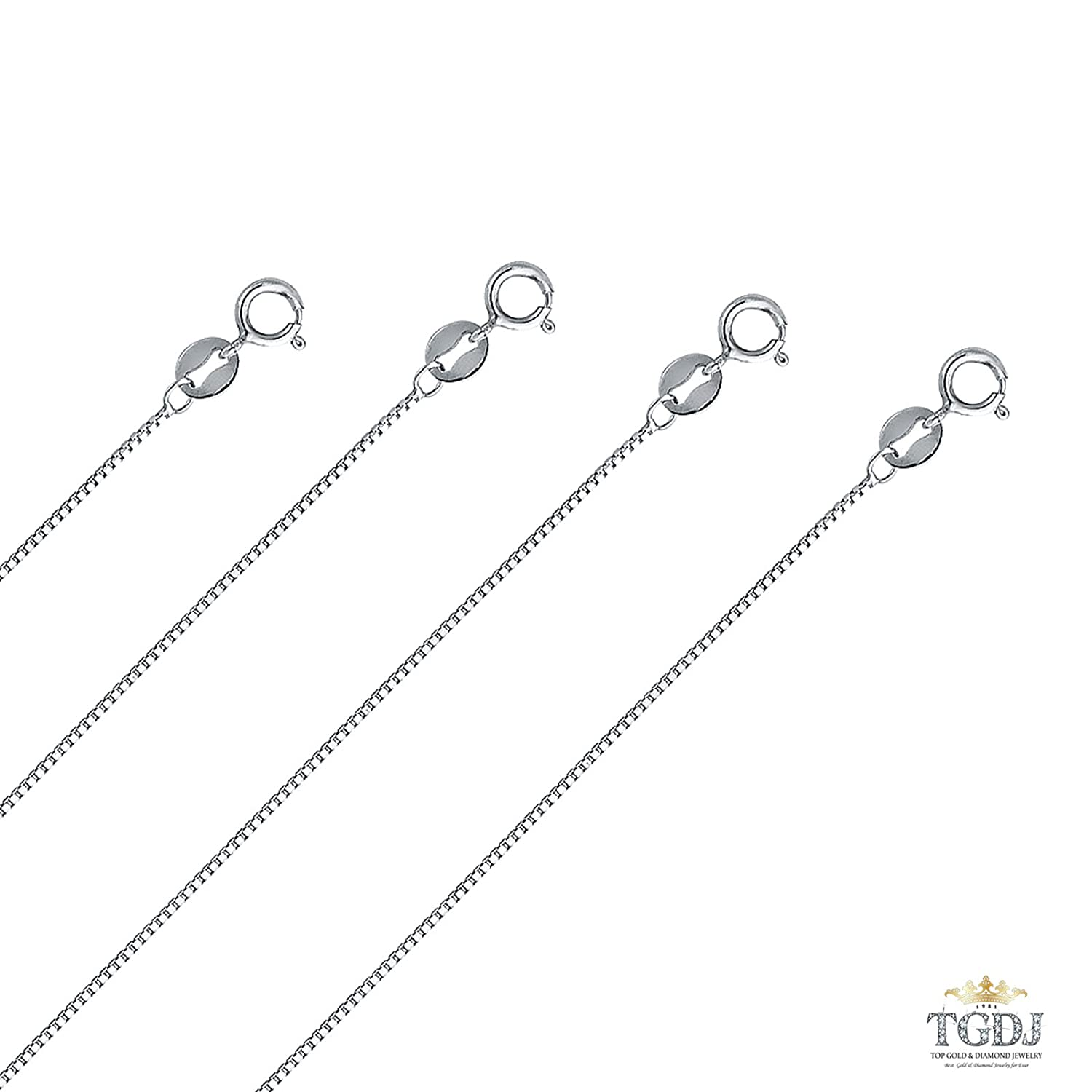 TGDJ 14K Solid Genuine White Gold 0.8 mm Box Chain Necklace