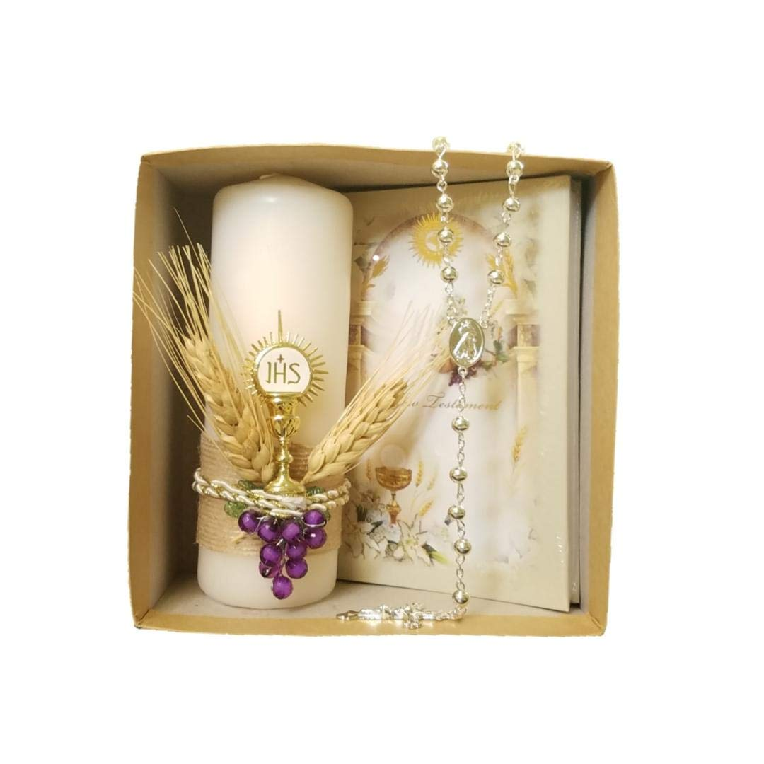 Angel Threads Boutique 3 Piece Neutral Holy First Communion Spanish Prayer Book Candle Purple Grapes Rosary Primera Comunion Offering Set