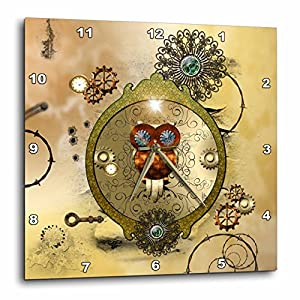 3D Rose Steampunk Cute owl on a Frame Gears Wall Clock, 10″ x 10″
