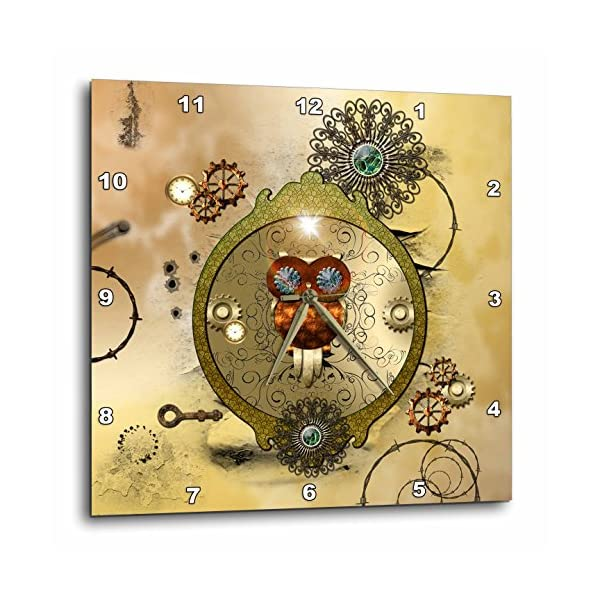 "3D Rose Steampunk Cute owl on a Frame Gears Wall Clock, 10"" x 10"" 3"