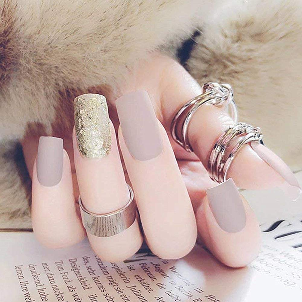 BloomingBoom 24 Pcs 12 Size Full Cover False Fake Nail Artificial Faux Ongle Elegant Press on Salon Design Woman Long Natural Pre Design Mixed Color Silver Sequins Nude Pink Ltd