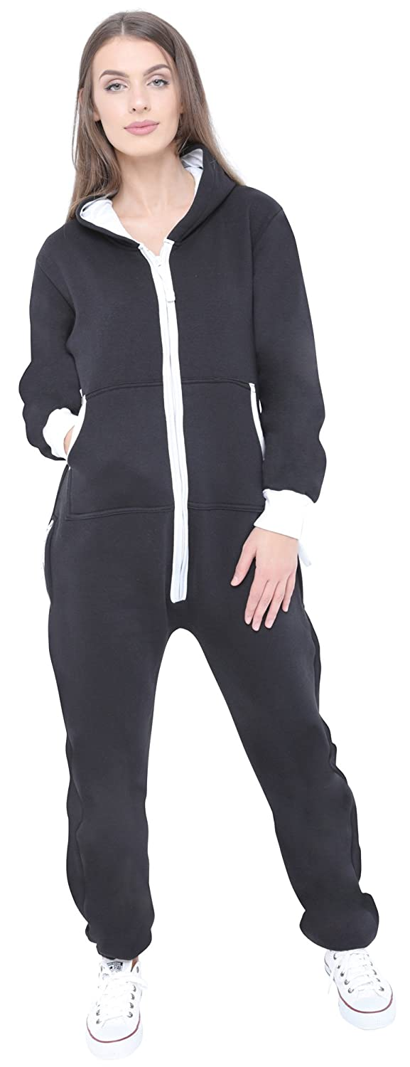 038229aab12f Juicy Trendz Ladies Womens Onesie Hooded Jumpsuit Playsuit All in One Piece:  Amazon.co.uk: Clothing