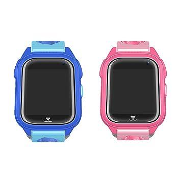 Su-luoyu Reloj para Niños Impermeable IP67 Niños Inteligente Relojes GPS SOS para Niños Regalos de Cumpleaños (2 Color): Amazon.es: Electrónica