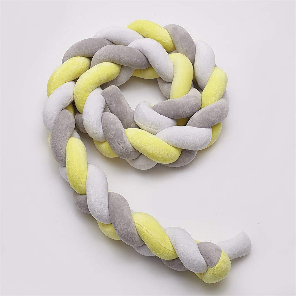 Braided Soft Baby Cot Bumper Roll Anti Allergy Cotton Cushion Nursery Baby Nest Cot Protector Bed Sleep Bumper yellowe+Gray + White,3m