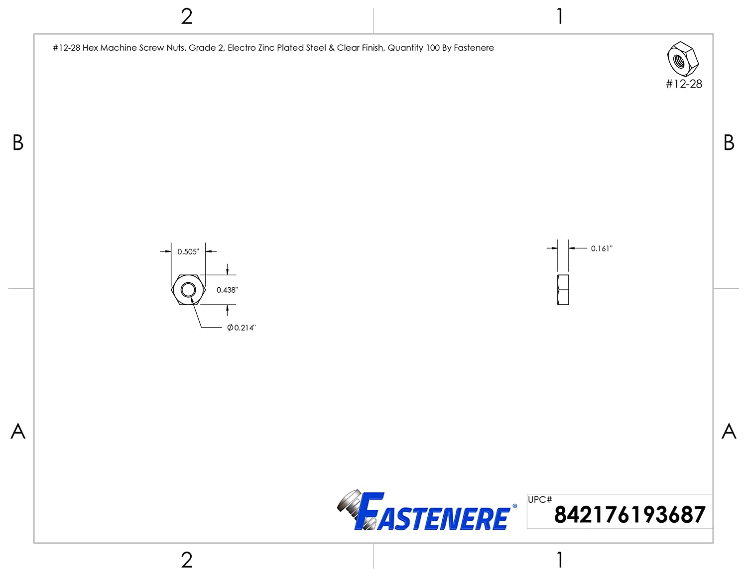 #10-32 Hex Machine Screw Nuts Electro Zinc Plated Steel /& Clear Finish Grade 2 Quantity 100 by Fastenere