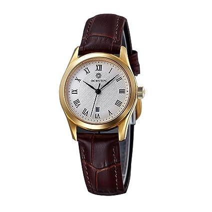 Reloj para mujer Reloj de cuarzo Correa de cuero Números romanos Ultra fino Negocio Casual Calendario