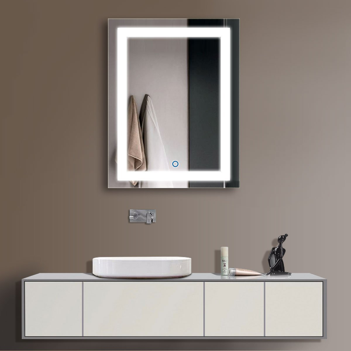 amazoncom hyh vertical led bathroom silvered mirror with touch button3628 home u0026 kitchen