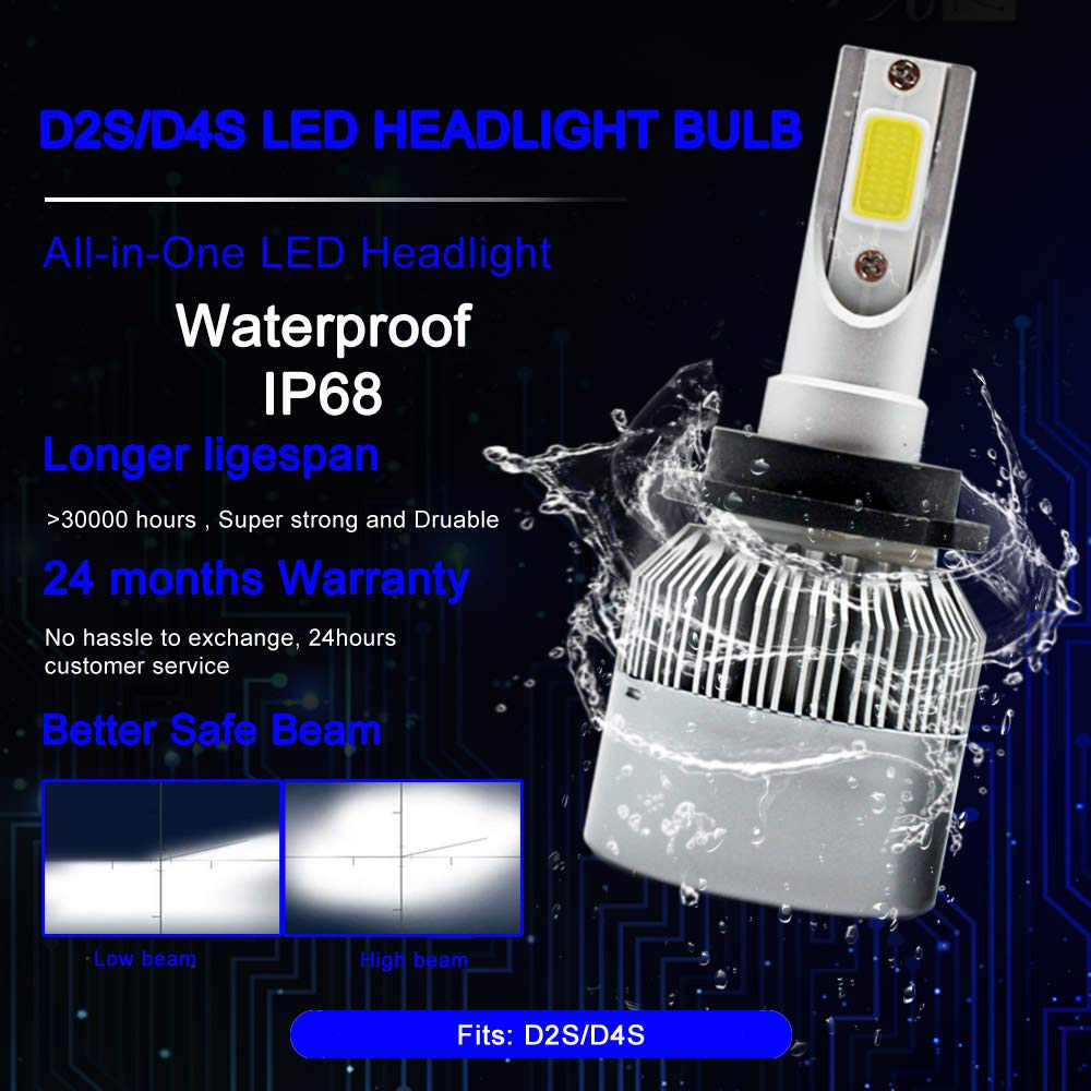 TXVSO8 LED D2S//D2R//D4S//D4R Auto Headlight Bulb Conversion Kit 55W Car Lamp Light 6000K Pure White Lighting 12V-1 Year Warranty