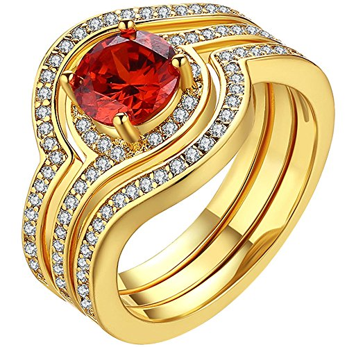 LWLH Jewelry Womens 18K Yellow Gold Plated Red Ruby Cubic Zirconia CZ Solitaire Rings Set Wedding Band Szie 7