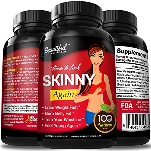 Diet Pills SKINNY AGAIN | Lose Weight FAST | Safe, Non-GMO & Gluten Free Appetite Suppressant | 100% Natural Weight Loss | Diet Pills that Work Fast For Women & Men - 1 Bottle by Beautiful Once Again