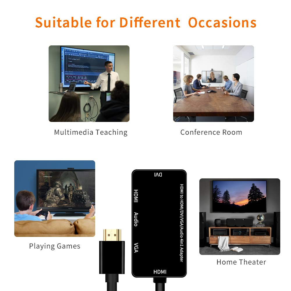 HDMI zu DVI VGA Audio 4 in 1 Videokonverter HDMI auf VGA DVI HDMI Audio Adapter Konverter Synchronanzeige Multiadapter 1920 * 1080 1080P Foshung HDMI Adapter