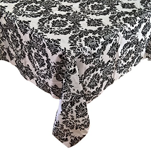 Goldstream Point 60 Inch x 60 Inch Black on White Damask Flocking Table Cloth Overlay Rectangle Square (Damask Material)